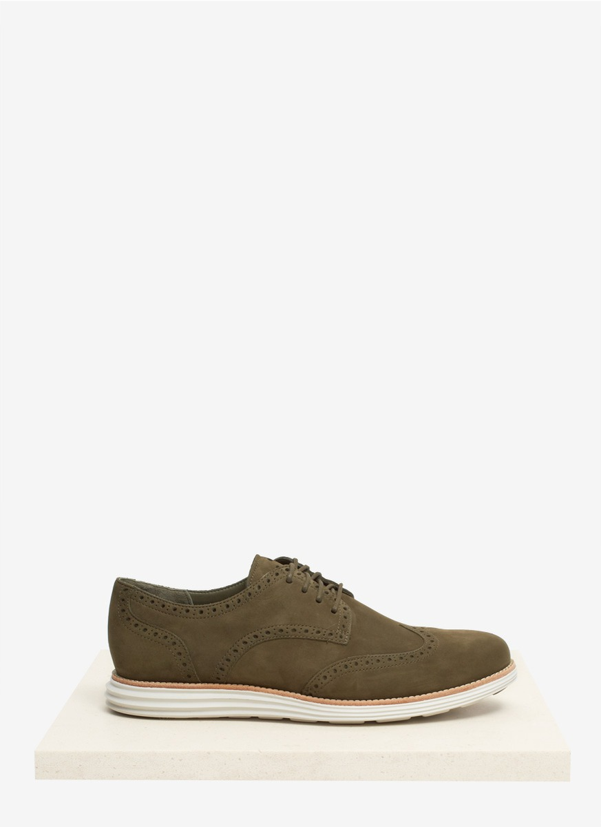 cole haan lunar grand perforated suede shoes in blue for