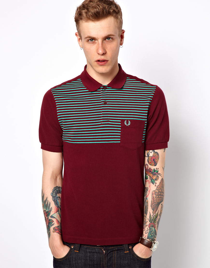 lyst nudie jeans fred perry polo with fine chest stripe in red for men. Black Bedroom Furniture Sets. Home Design Ideas