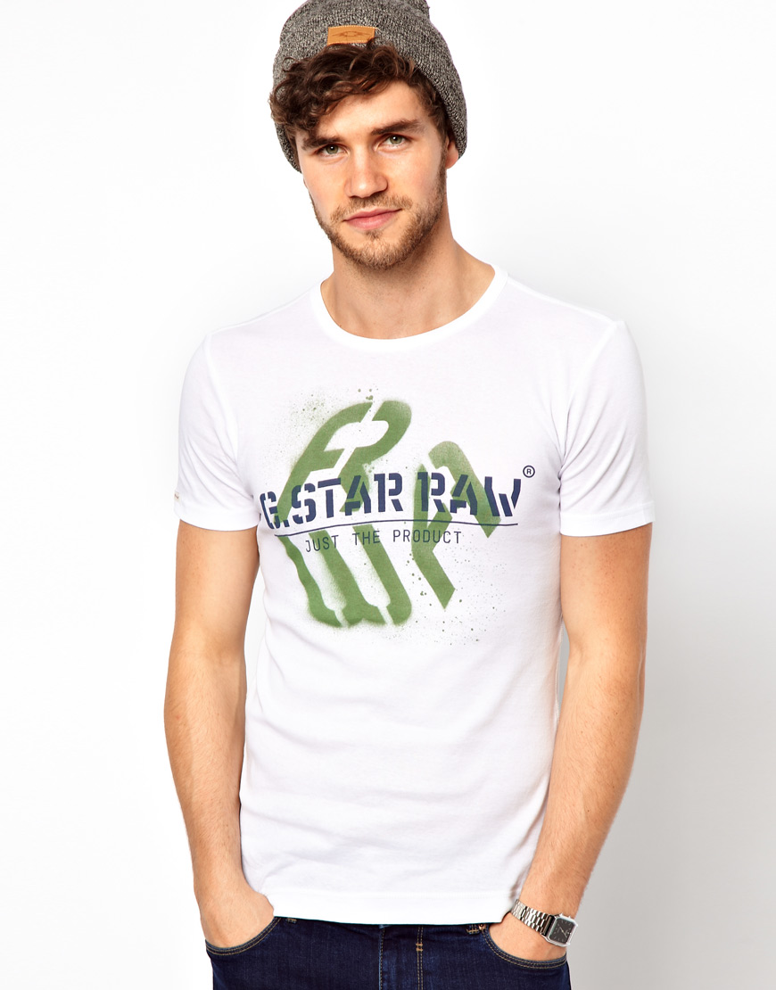 g star raw cool rib t shirt in white for men lyst. Black Bedroom Furniture Sets. Home Design Ideas