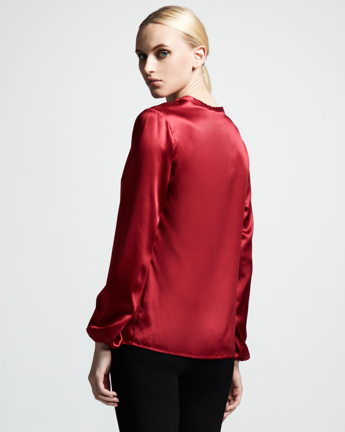 Lanvin Womens Washed Satin Blouse Rouge Fonce in Red
