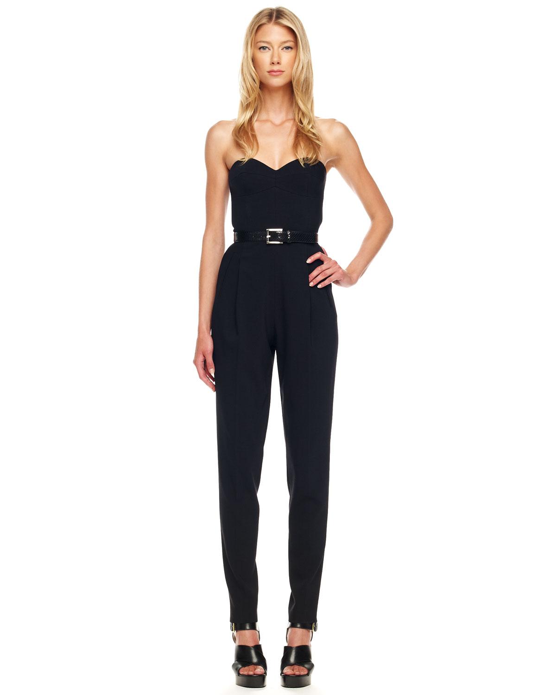 michael kors strapless crepe jumpsuit in black lyst. Black Bedroom Furniture Sets. Home Design Ideas
