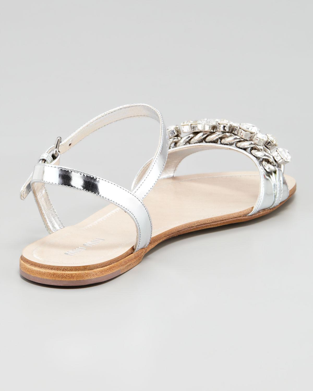 89317696c Lyst - Miu Miu Crystal Strap Flat Sandals in Metallic