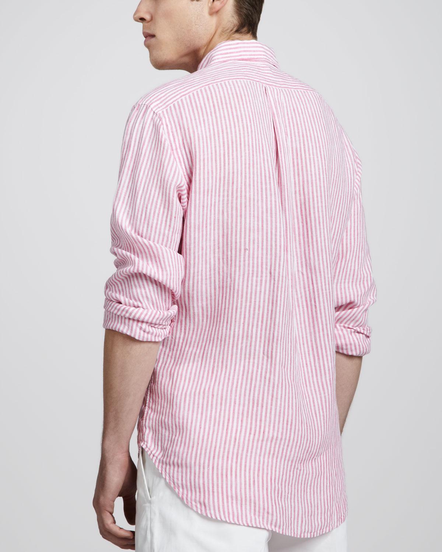 Polo ralph lauren Striped Linen Sport Shirt in Pink for Men | Lyst