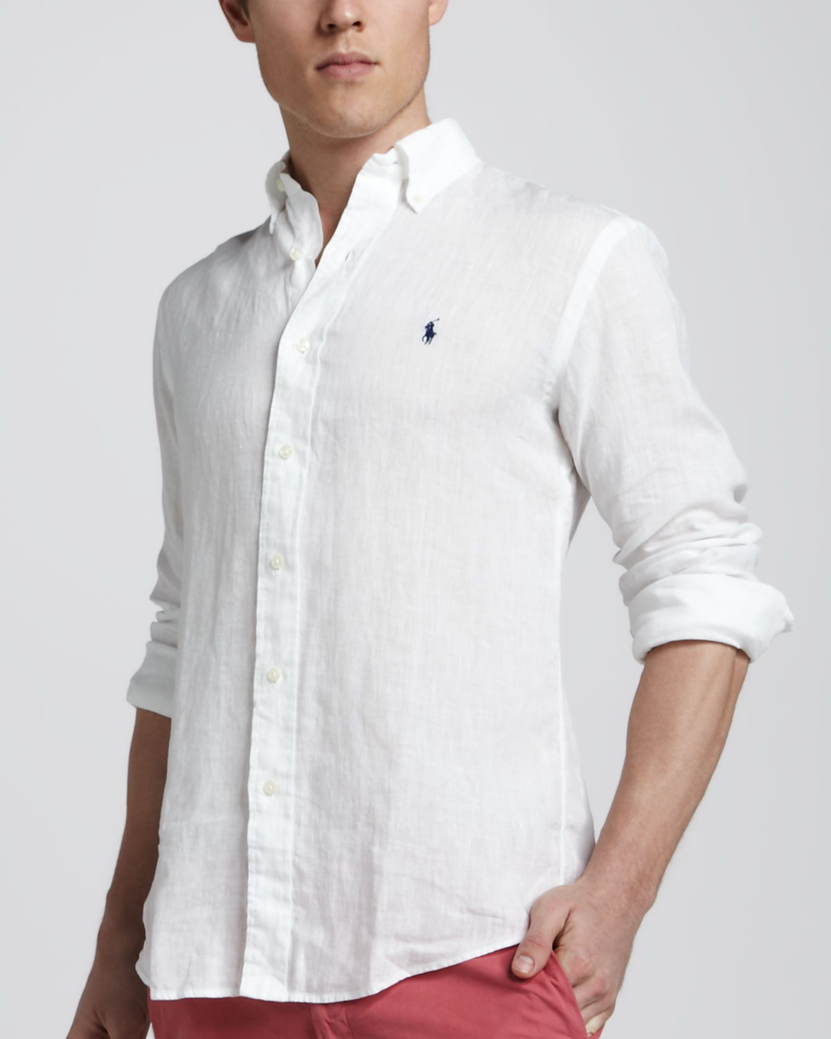 65f42523 Polo Ralph Lauren Linen Sport Shirt White for men