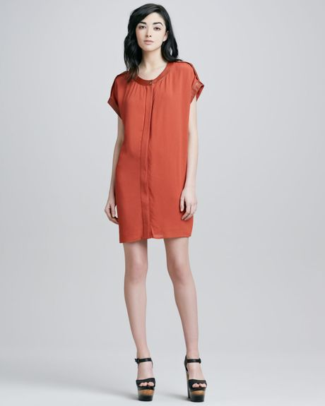Rachel Zoe Reyna Capsleeve Dress in Orange (rust)