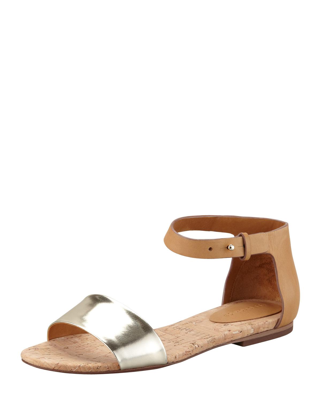6b3ef0af489 Lyst - See By Chloé Cork Flat Sandal in Metallic