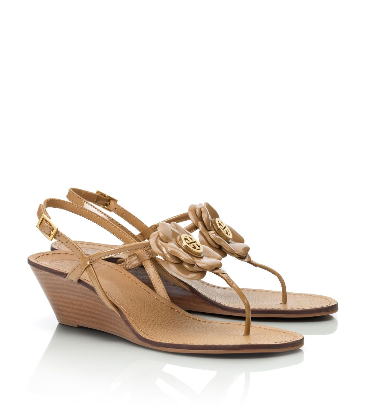 Lyst Tory Burch Mid Wedge Shelby Sandal In Brown