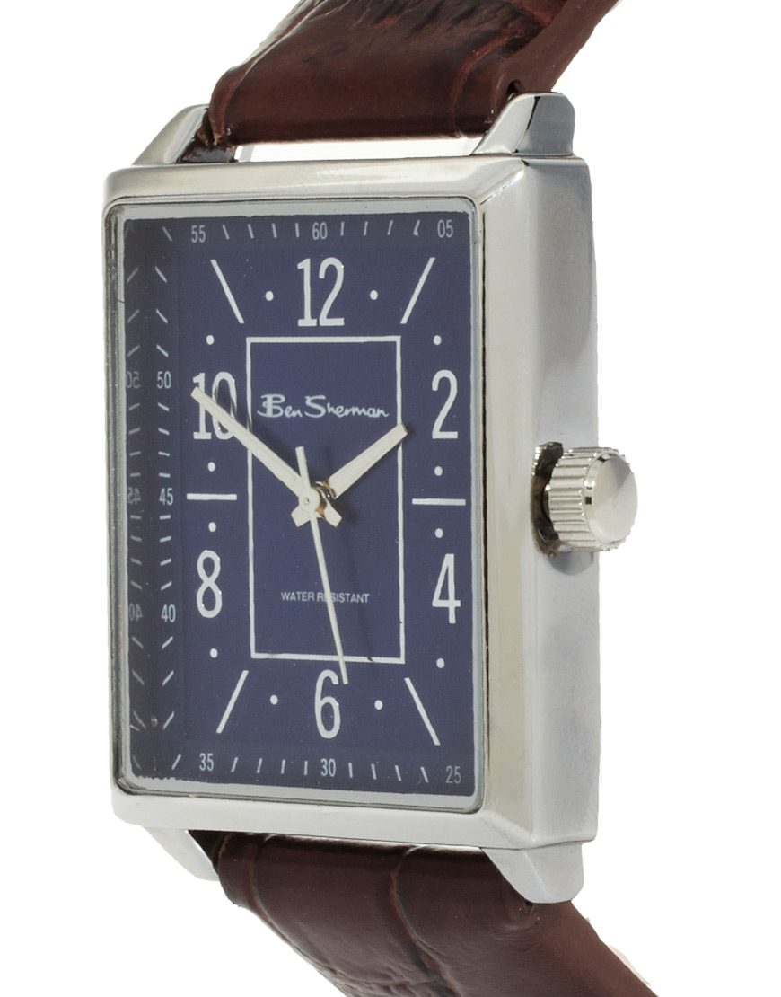 Sensational Asos Ben Sherman Leather Strap Watch Square Face R943 In Brown For Short Hairstyles Gunalazisus