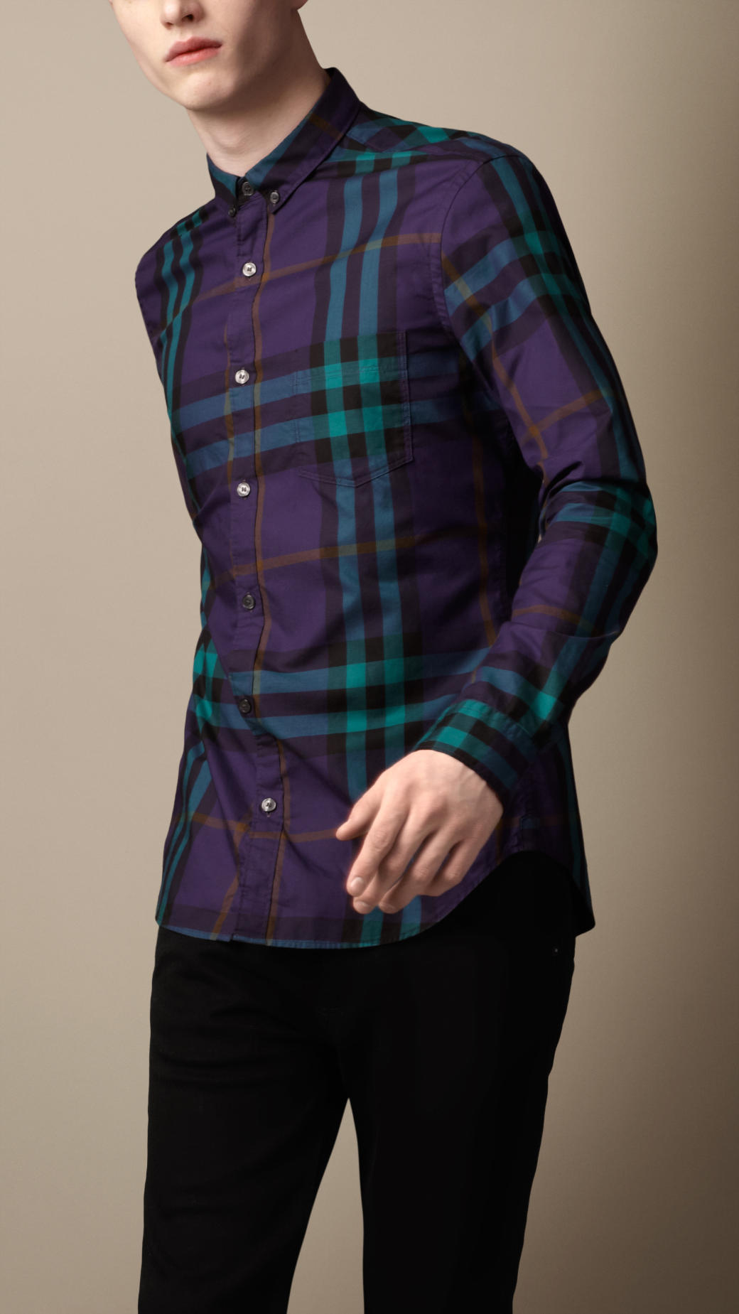 Burberry exploded check cotton shirt in green for men for Royal purple mens dress shirts