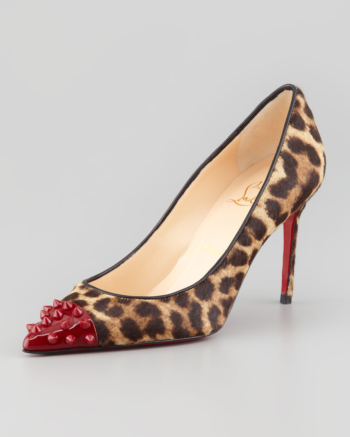 Christian louboutin Geo Spike-toe Leopard Calf Hair Red Sole Pump ...