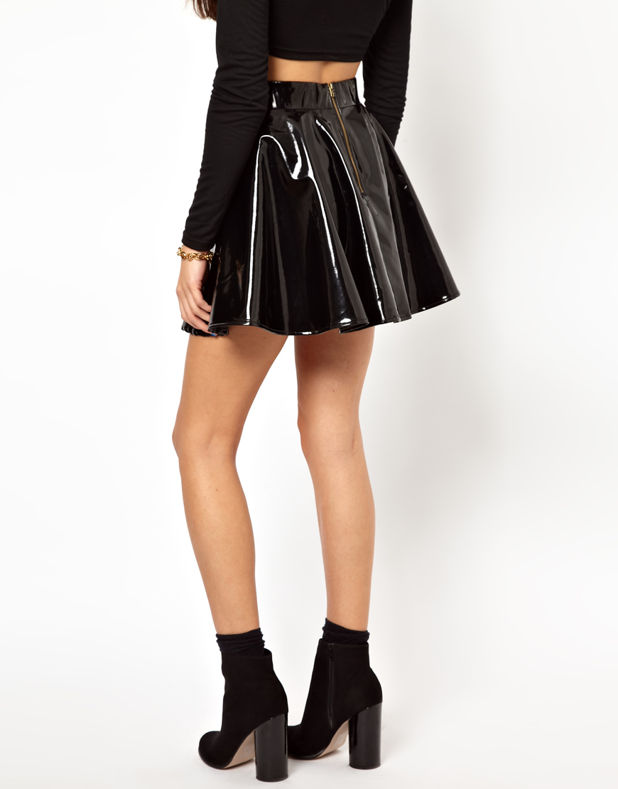 asos glamorous skater skirt in high shine pvc in black lyst