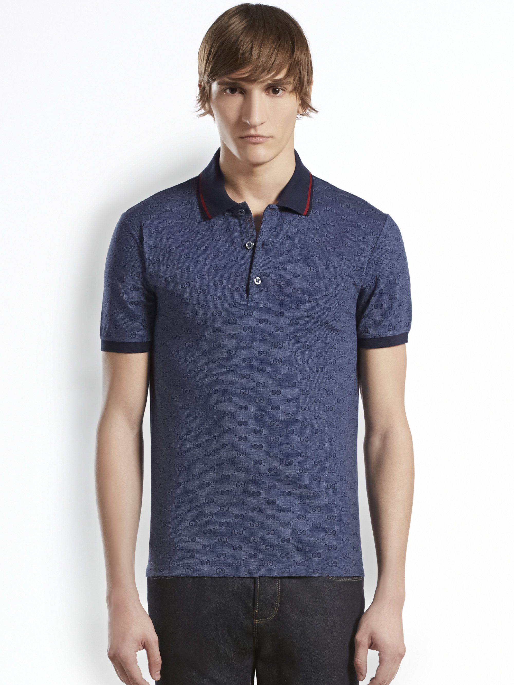 39dfdbde09b17 Gucci Gg Jacquard Cotton Pique Polo in Blue for Men - Lyst