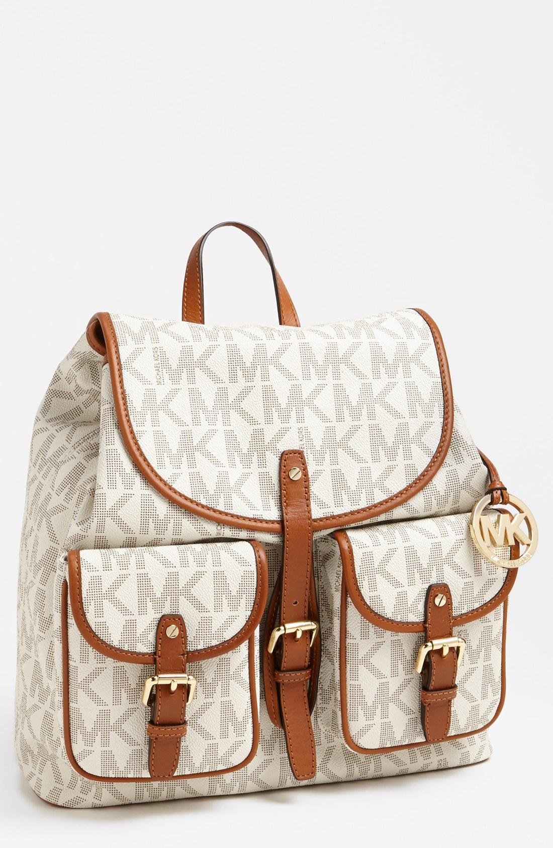 michael michael kors jet set backpack in white vanilla lyst. Black Bedroom Furniture Sets. Home Design Ideas