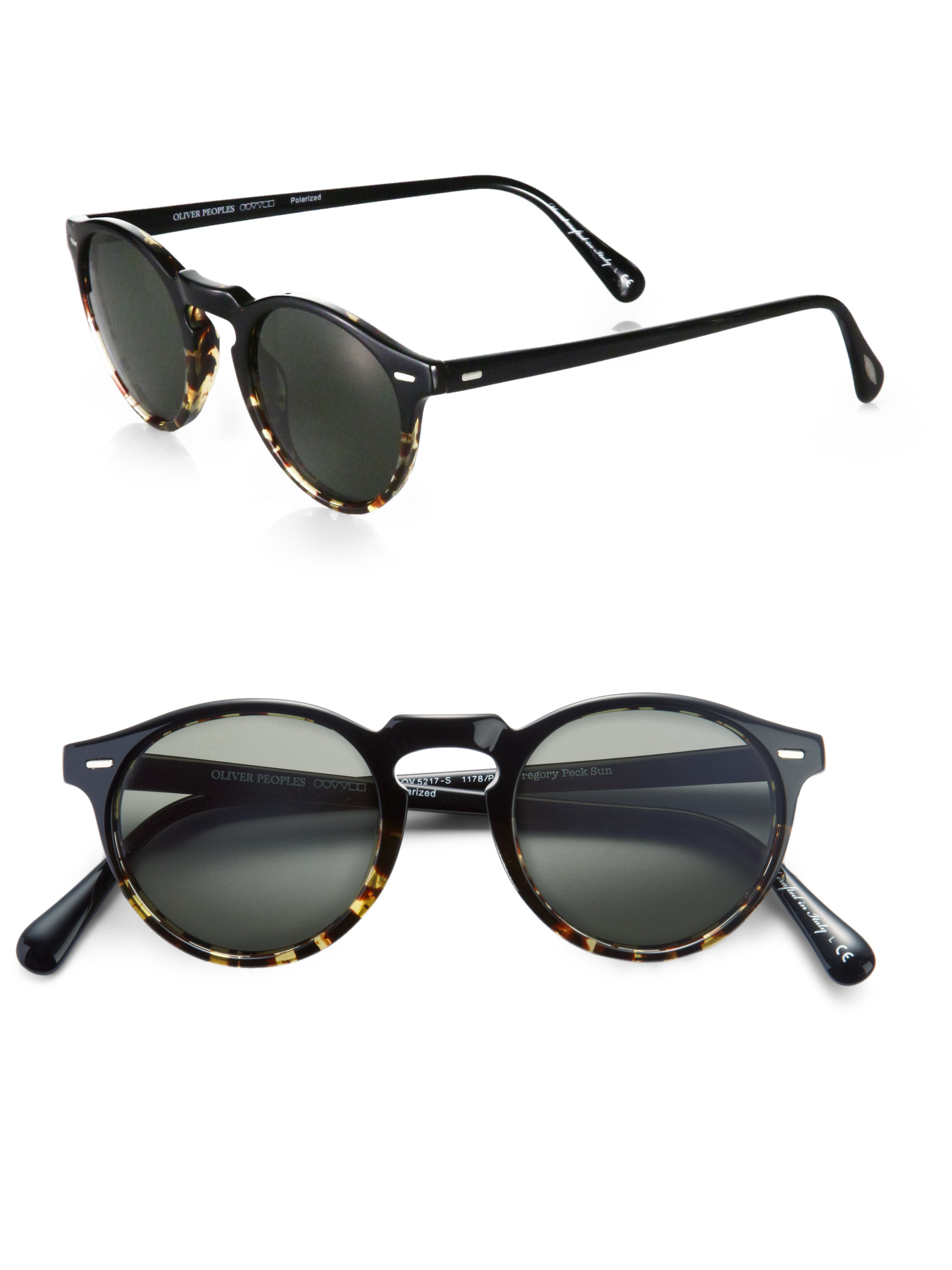 3e8760c7099 Lyst - Oliver Peoples Gregory Peck Round Polarized Sunglasses in Black