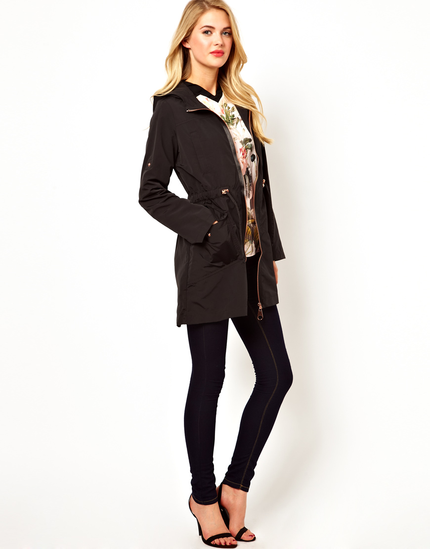 9c8d87076086 Lyst - Ted Baker Hooded Coat with Rose Gold Zip Details in Black