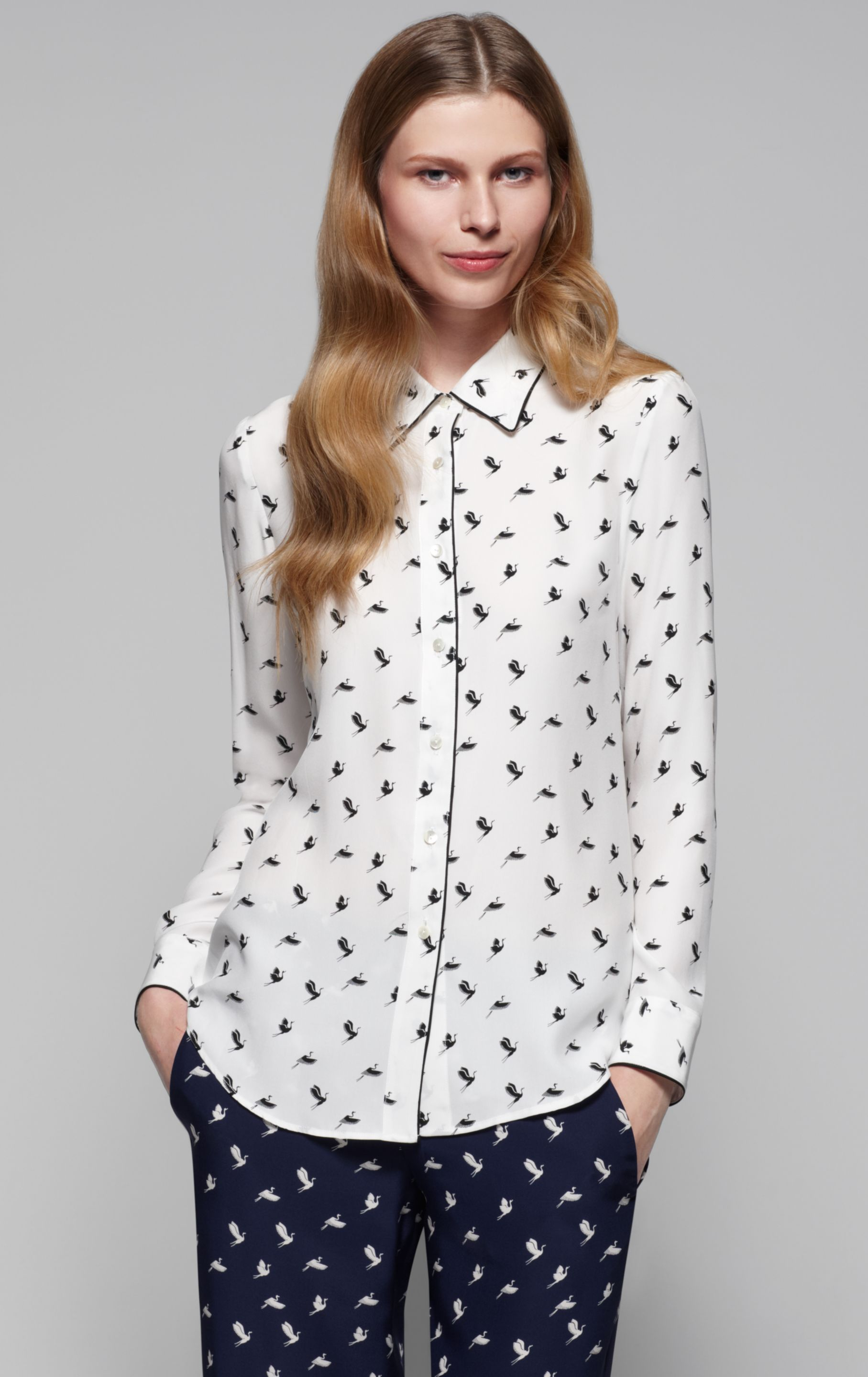 Lyst Theory Cully Bird Print Blouse In White