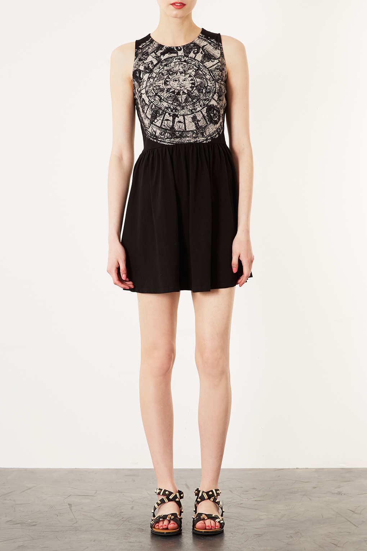 Lyst Topshop Zodiac Print Skater Dress In Black
