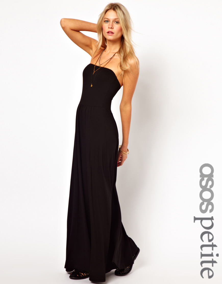 Asos Petite Bandeau Maxi Dress in Black | Lyst