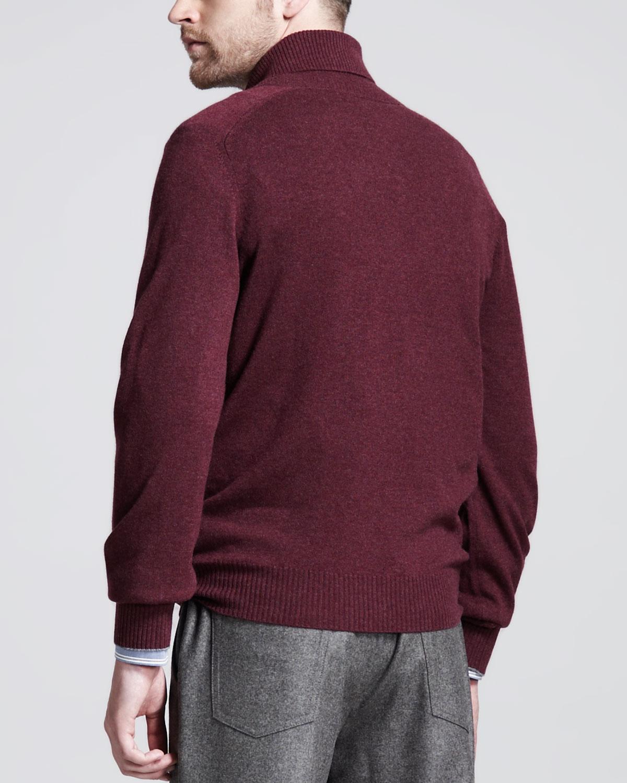 Brunello cucinelli Shawl Collar Cashmere Sweater Wine in Red for ...