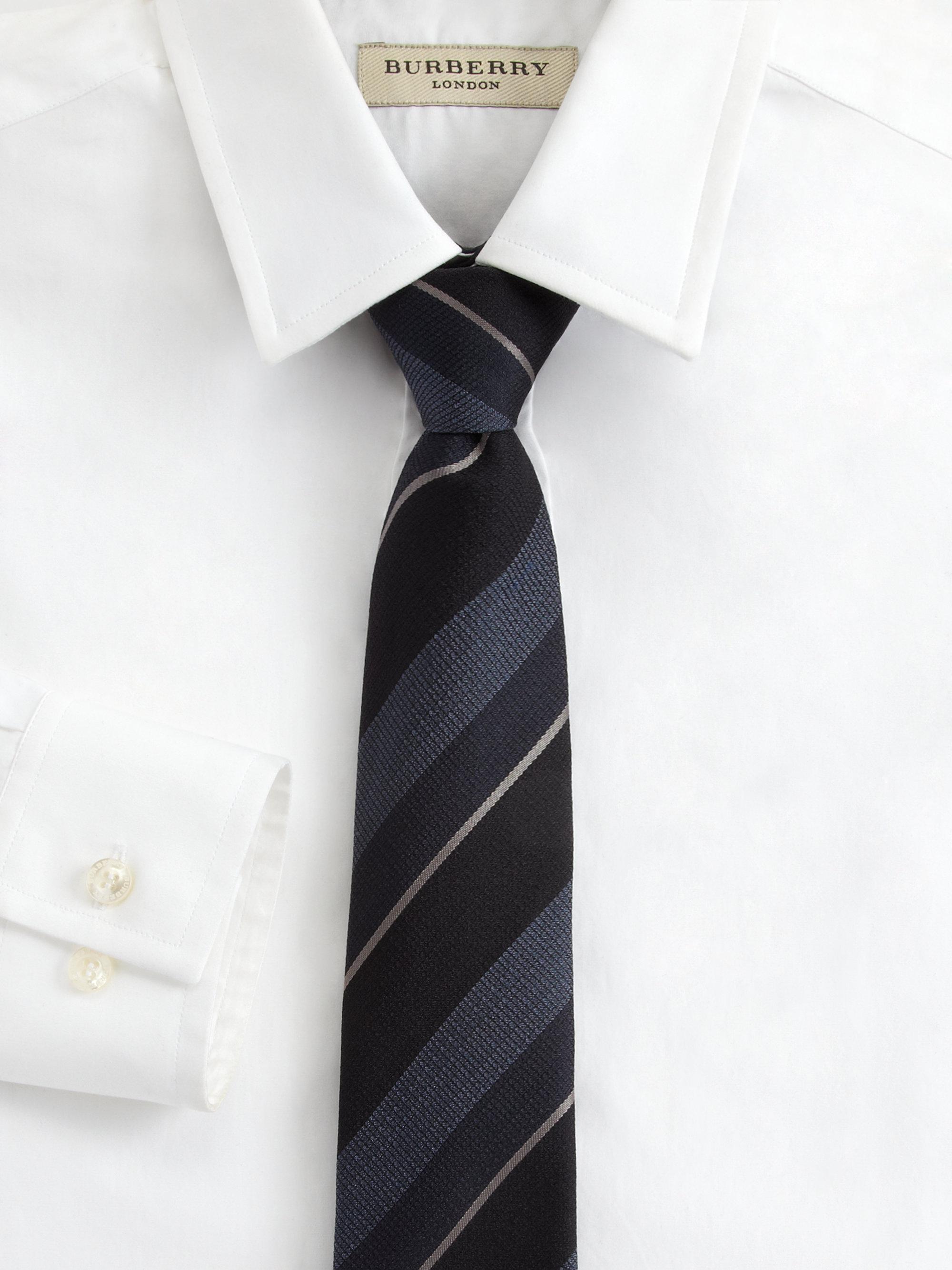 burberry logostripe silk tie in gray for carbon blue