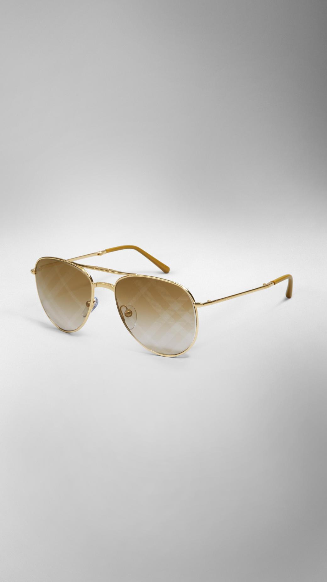 486e02e34b44 Lyst - Burberry Spark Foldable Aviator Sunglasses With Check Lenses ...