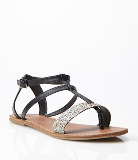 Forever 21 Glittered Gladiator Sandals In Black Black