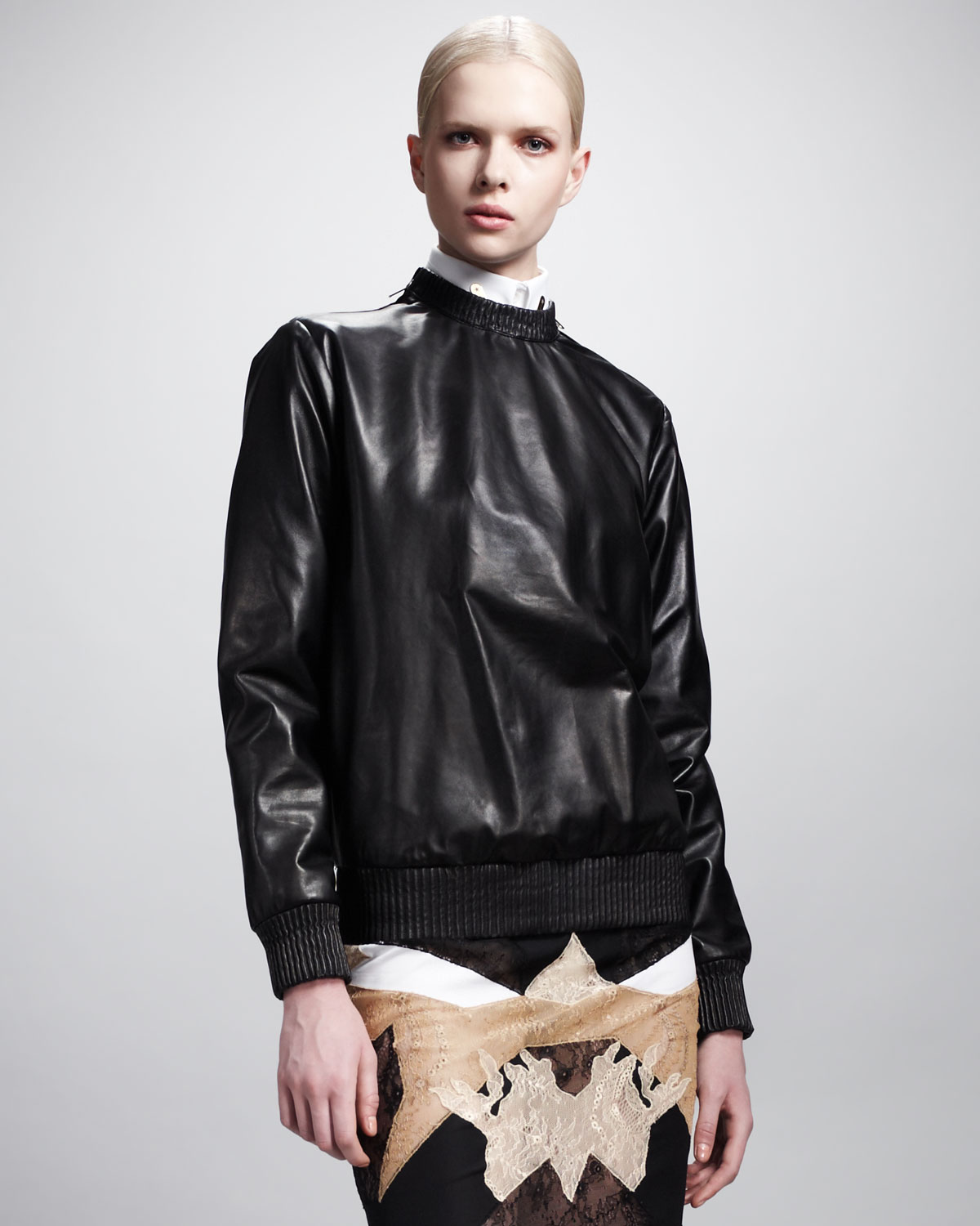 givenchy pullover leather sweatshirt in black lyst. Black Bedroom Furniture Sets. Home Design Ideas