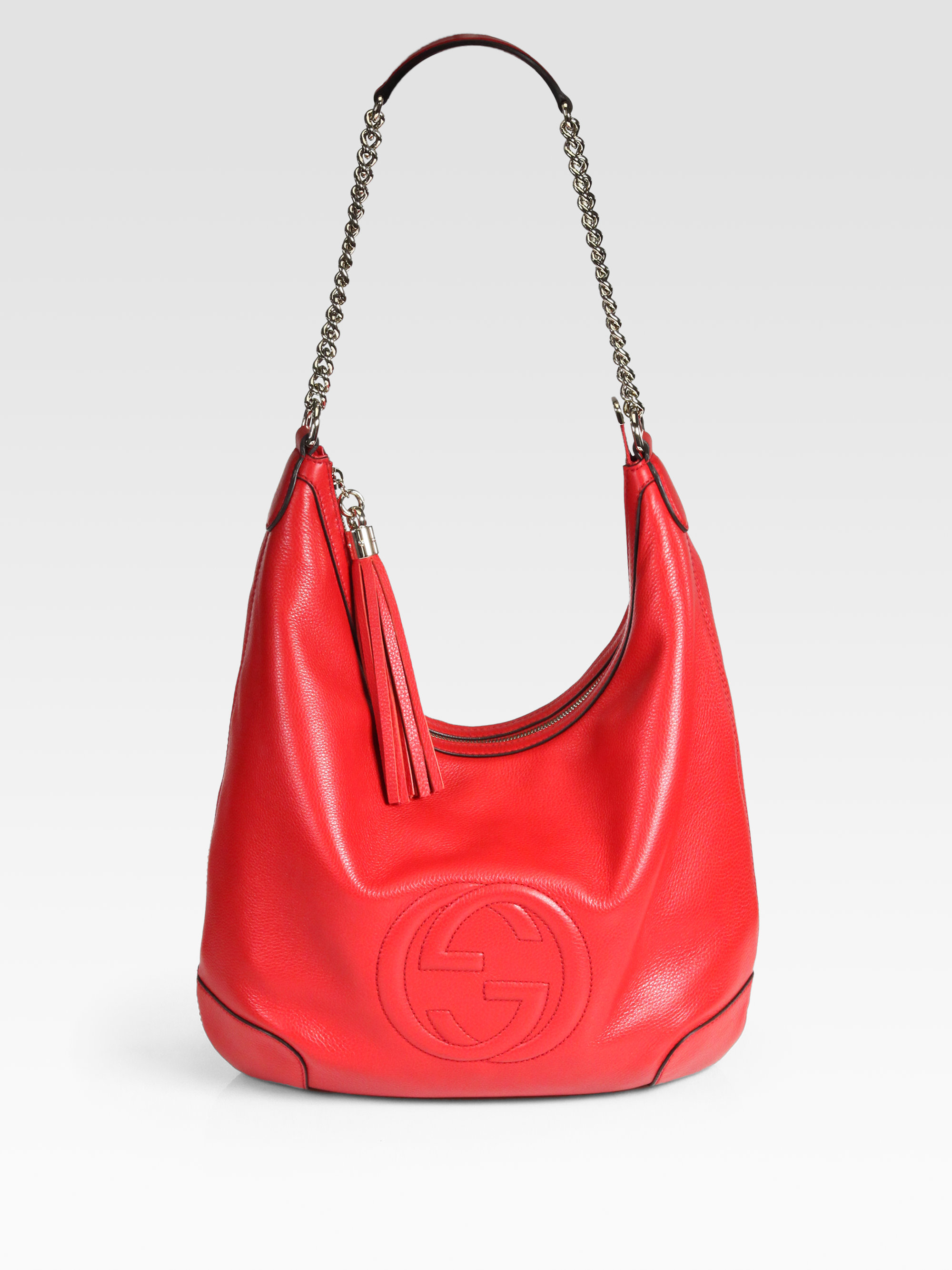 06522958b33c Lyst - Gucci Soho Leather Chain Hobo Bag in Red