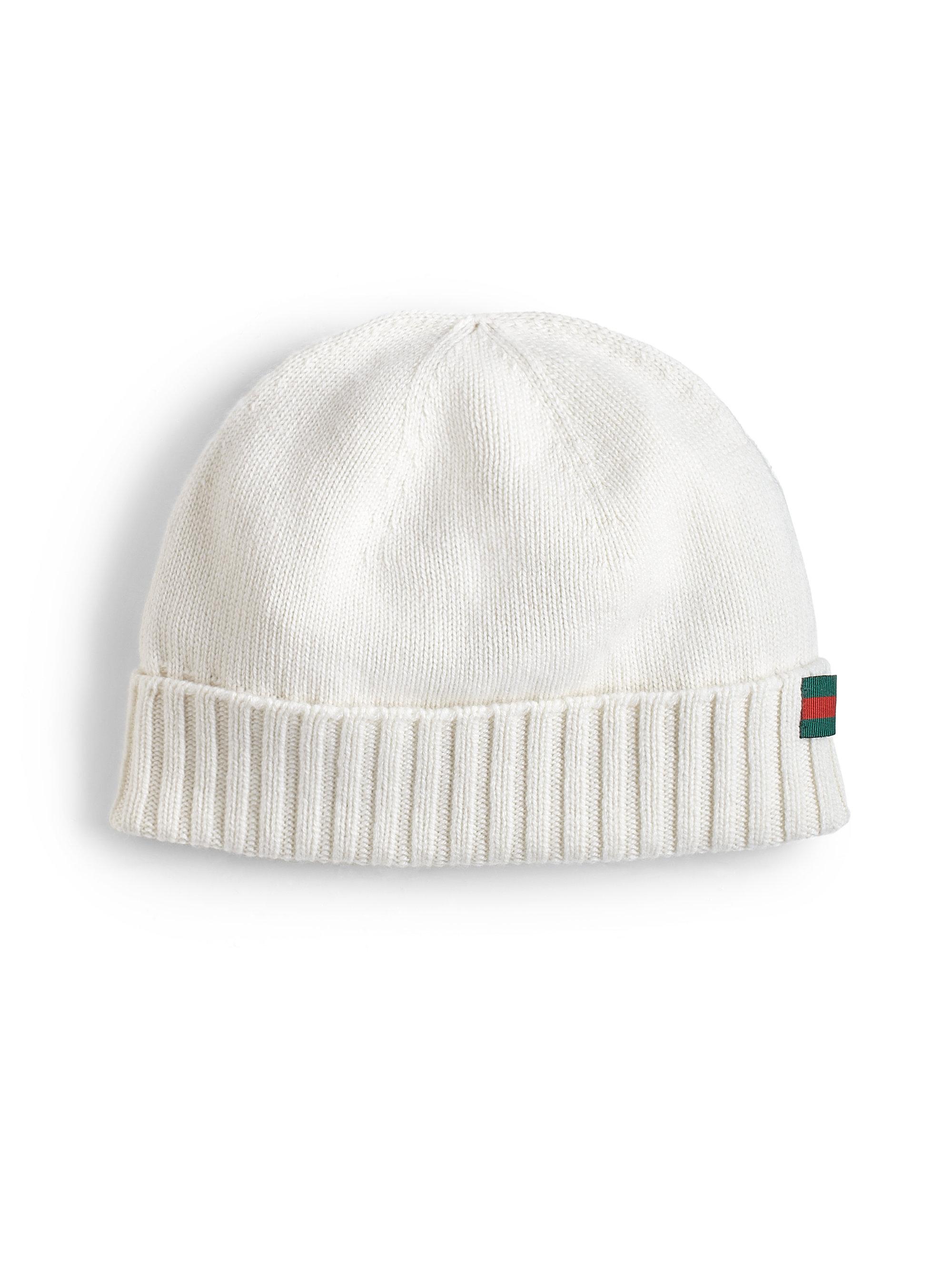 609fca37b2e7 Gucci Cashmere Beanie Hat in White for Men - Lyst