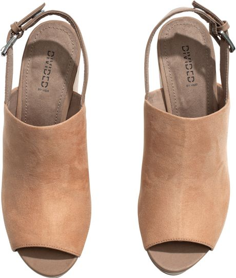 h m platform shoes with a wedge in beige lyst