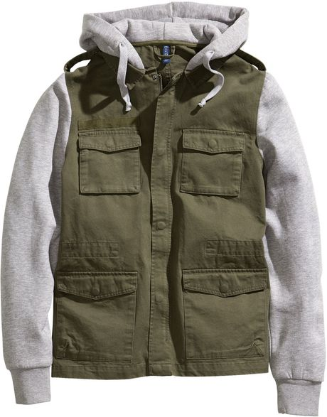 H&m Jacket with A Sweatshirt Hood in Green for Men (khaki green)
