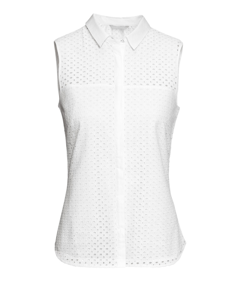 h m broderie anglaise blouse in white lyst. Black Bedroom Furniture Sets. Home Design Ideas
