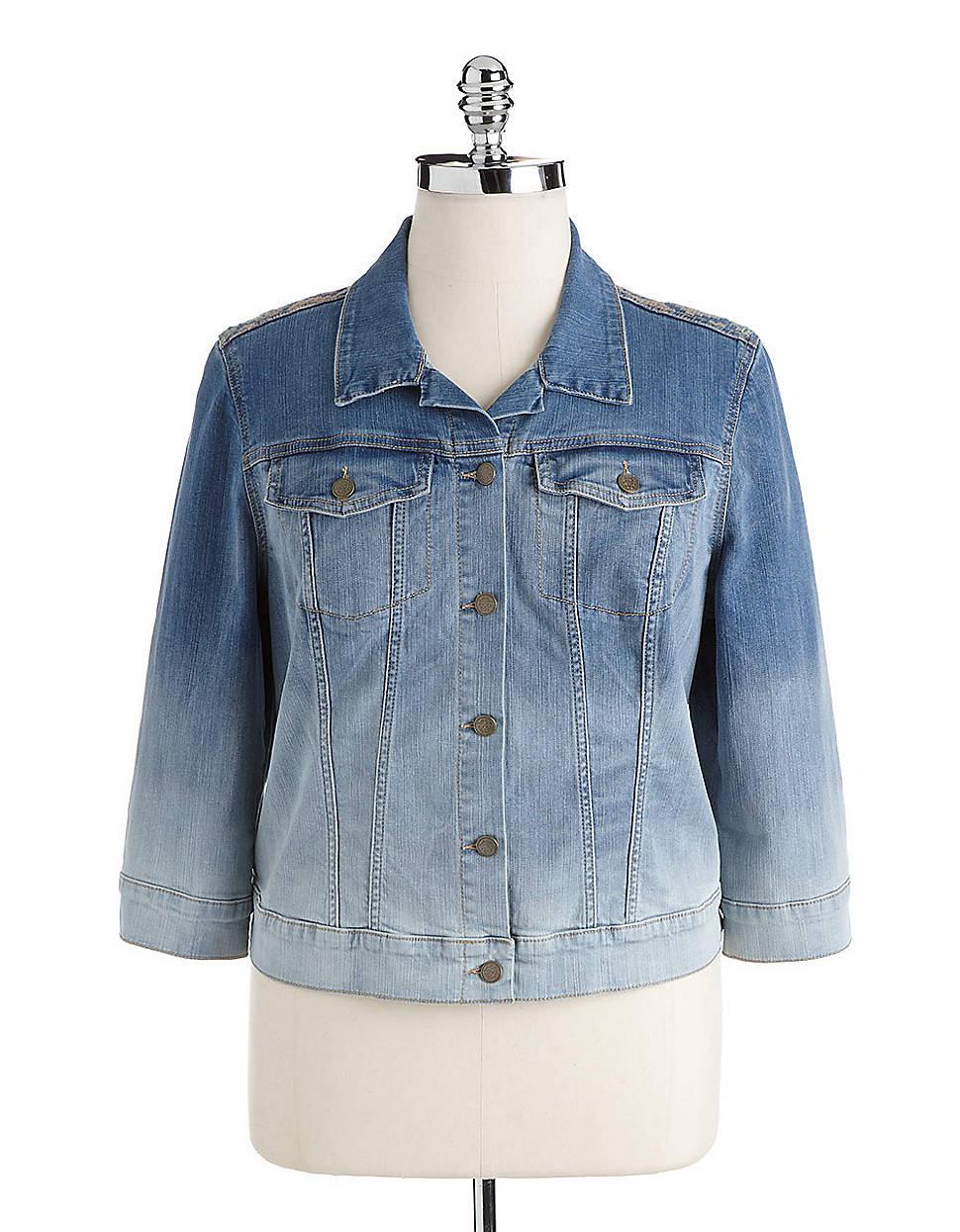 Jessica simpson plus miro embroidered denim jacket in blue