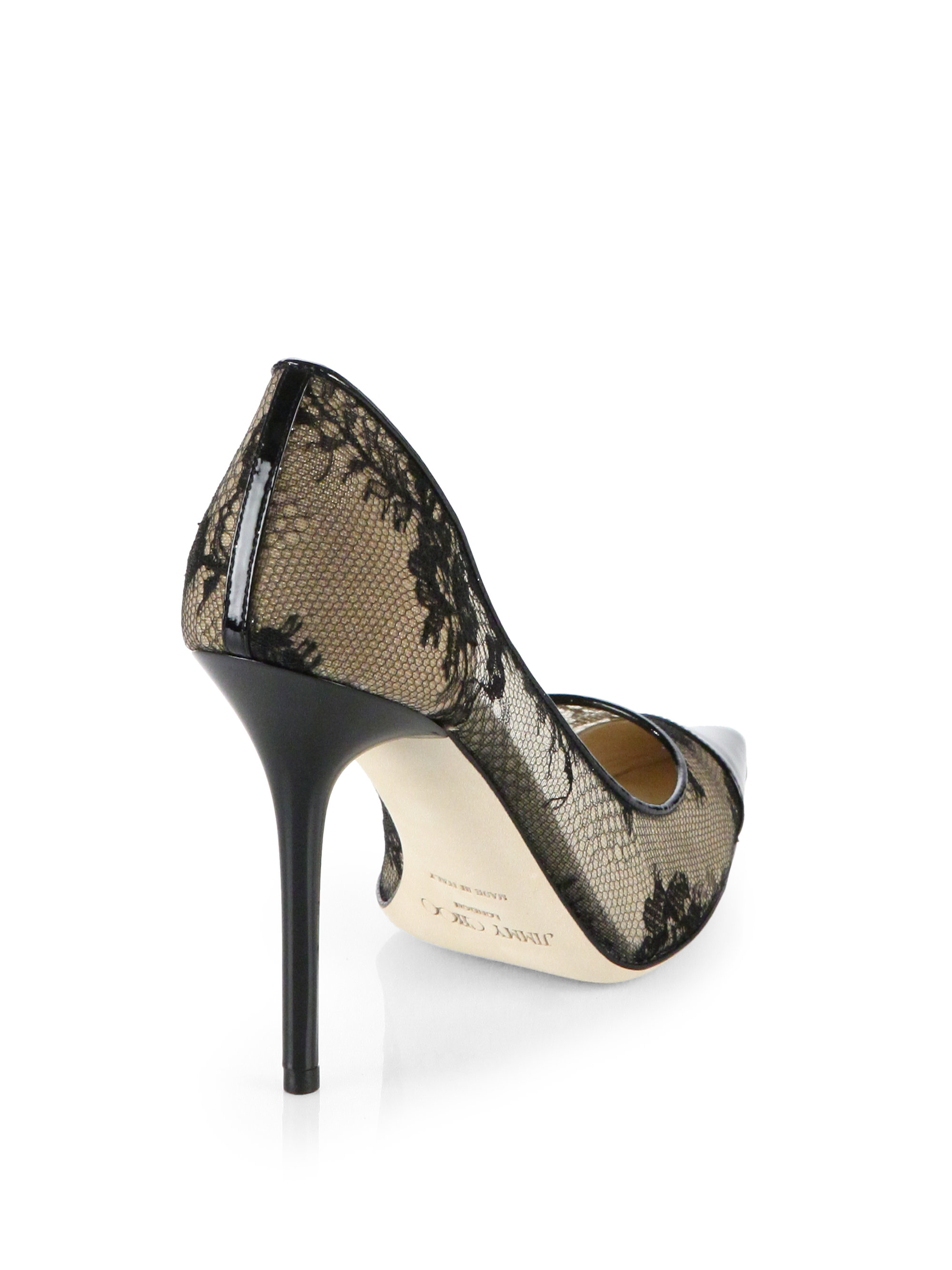 61c8acbe72f ... germany lyst jimmy choo amika lace patent leather pumps in black 33ff8  951e4