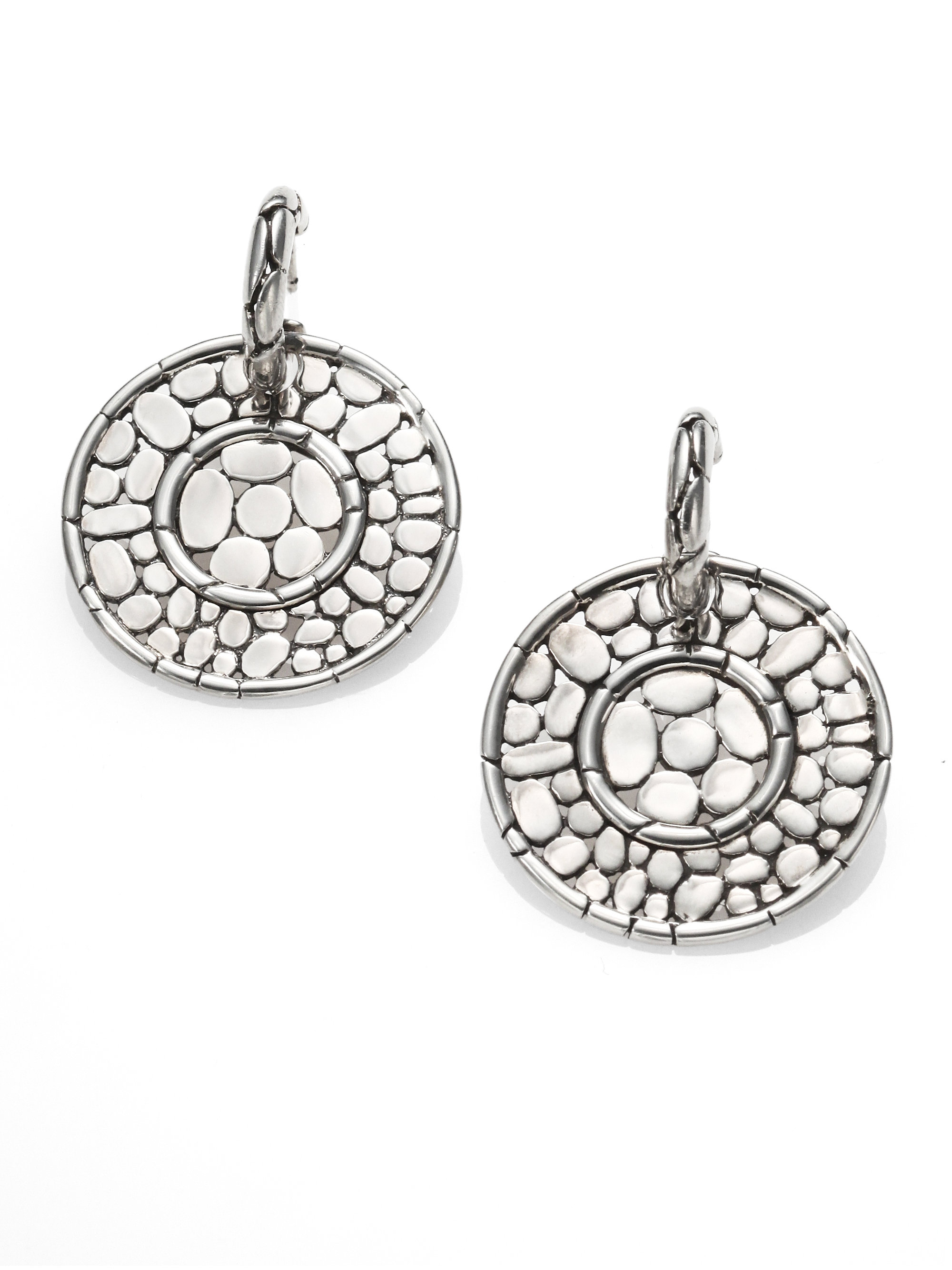 Lyst John Hardy Sterling Silver Disc Drop Earrings In Metallic