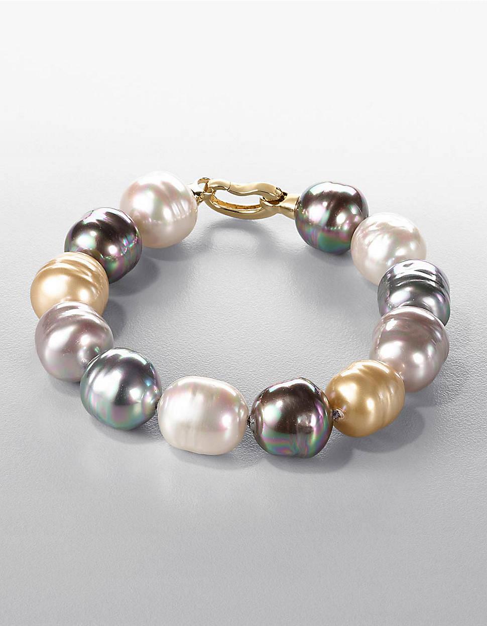 Lyst Majorica 14mm Multicolor Baroque Pearl Strand Bracelet