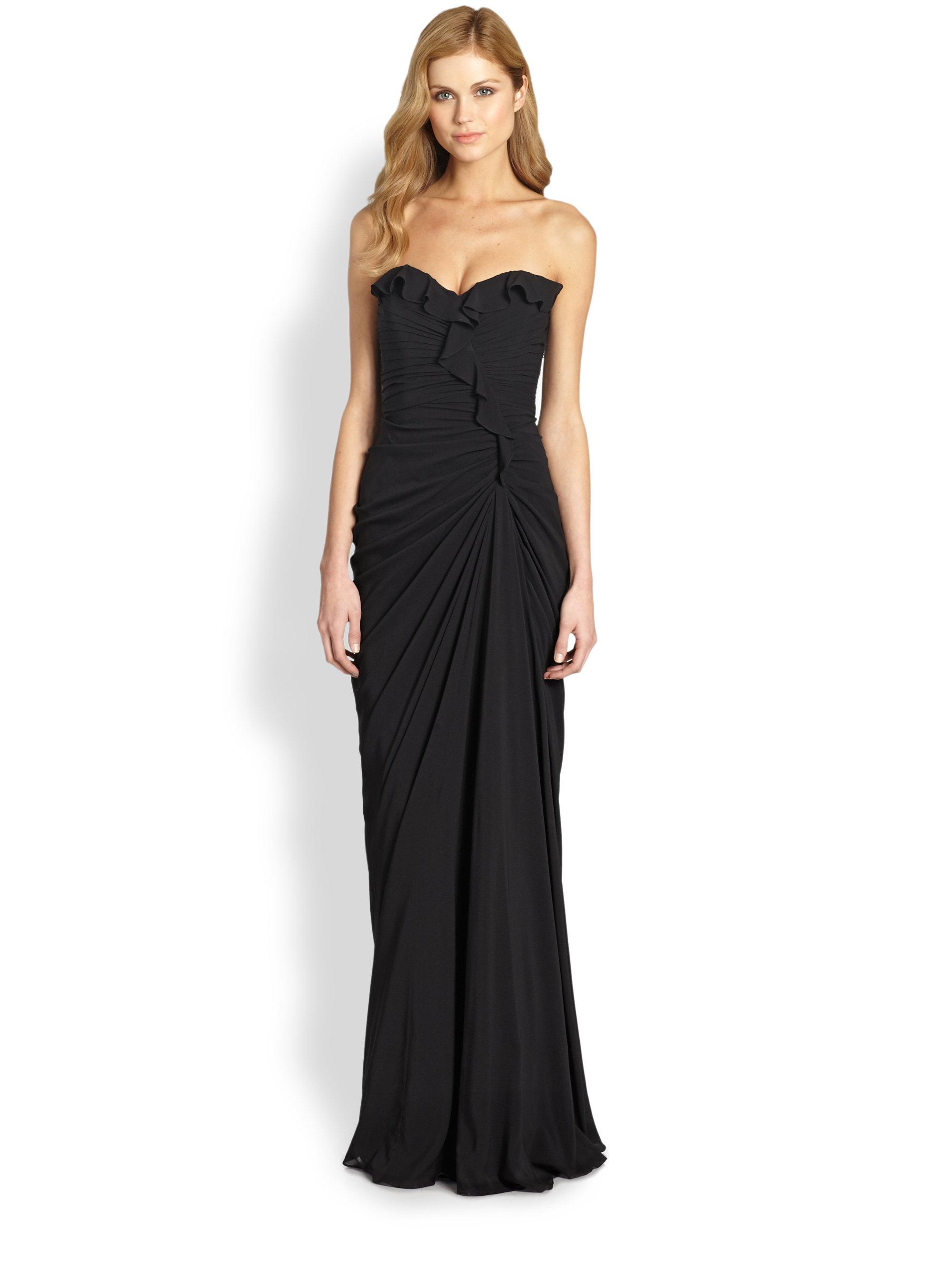 Lyst - Badgley Mischka Strapless Silk Sweetheart Gown in Black