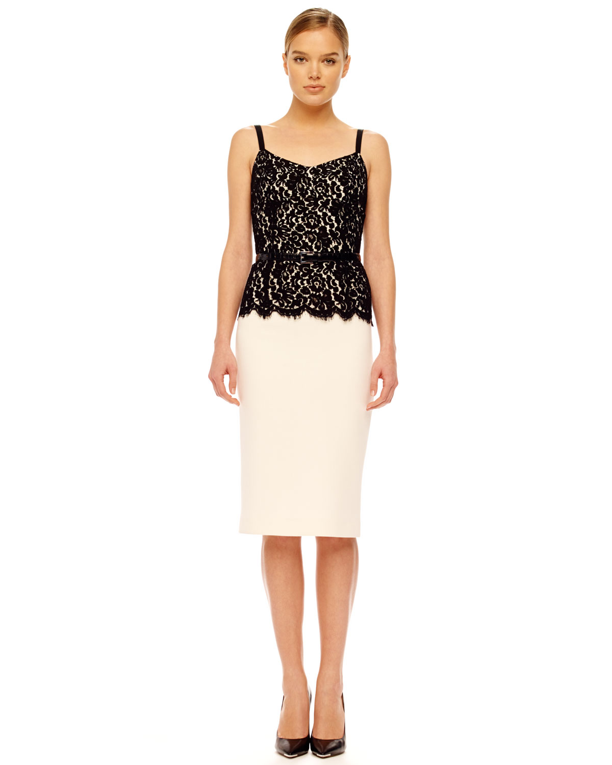 Lyst Michael Kors Womens Belted Lace Top Dress In Black