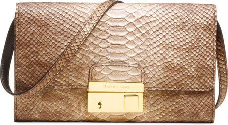 Michael Kors Gia Snakeembossed Clutch in Brown (tan)
