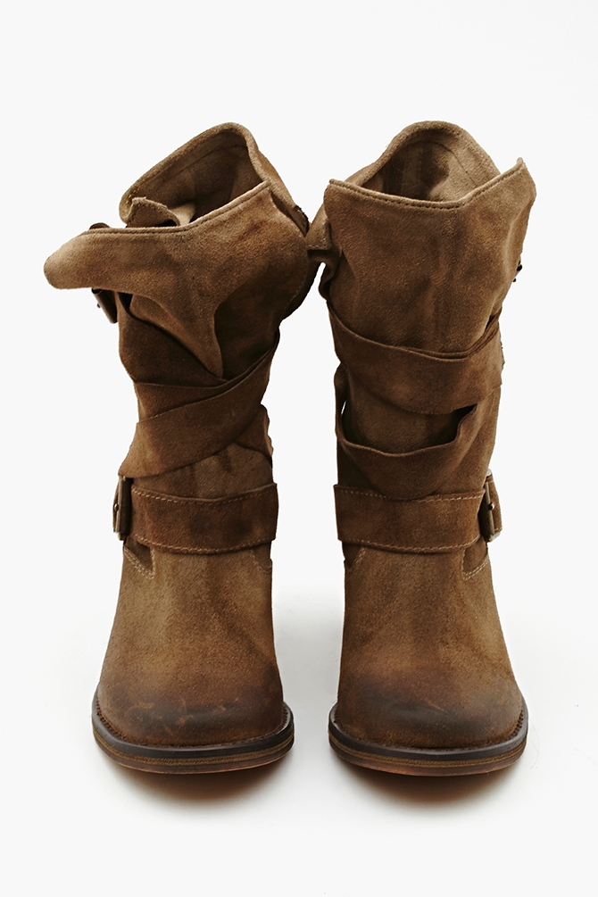 lyst nasty gal france strapped boot taupe suede in brown. Black Bedroom Furniture Sets. Home Design Ideas