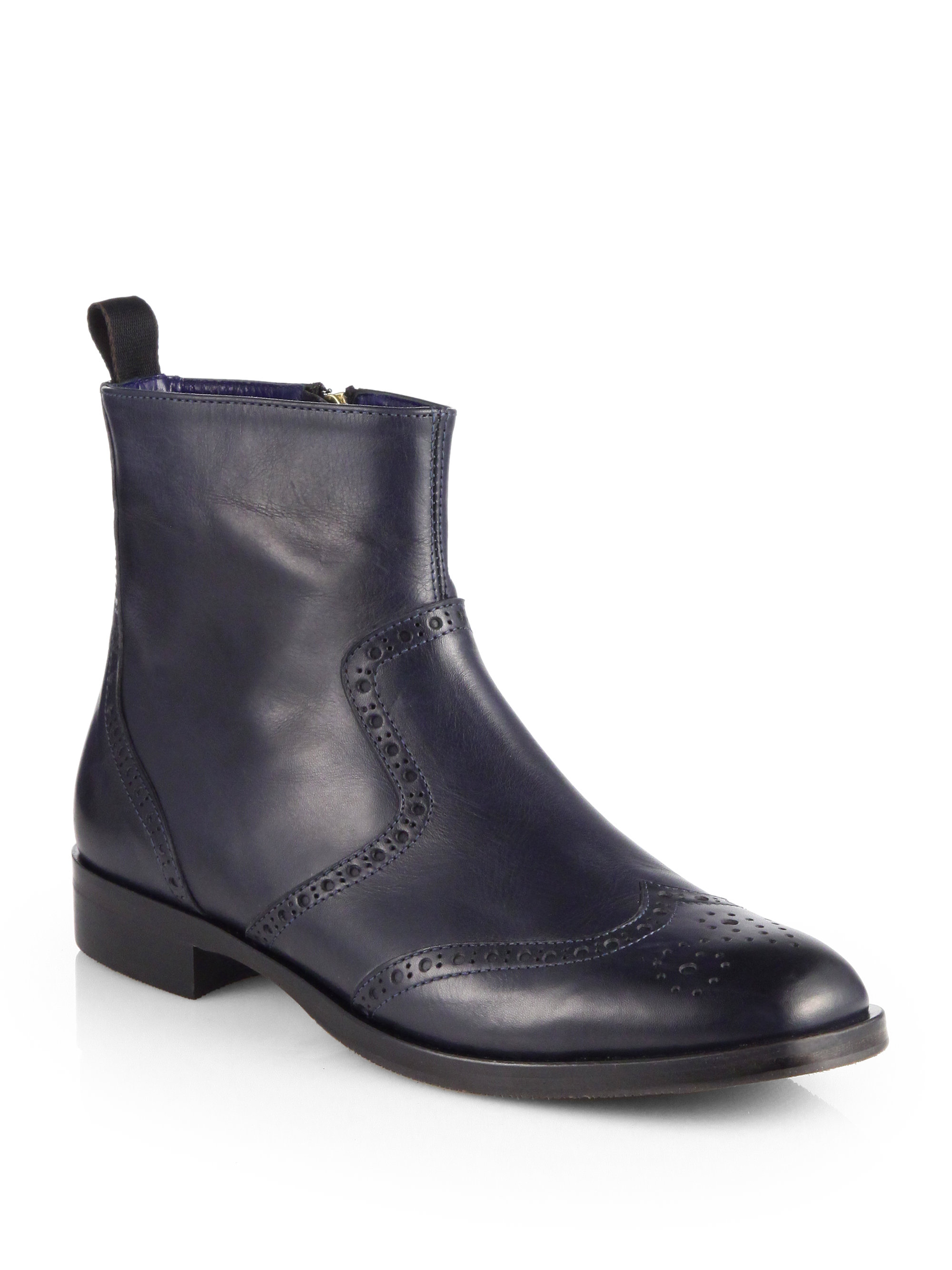 Pollini Short Leather Flat Boots In Black Lyst