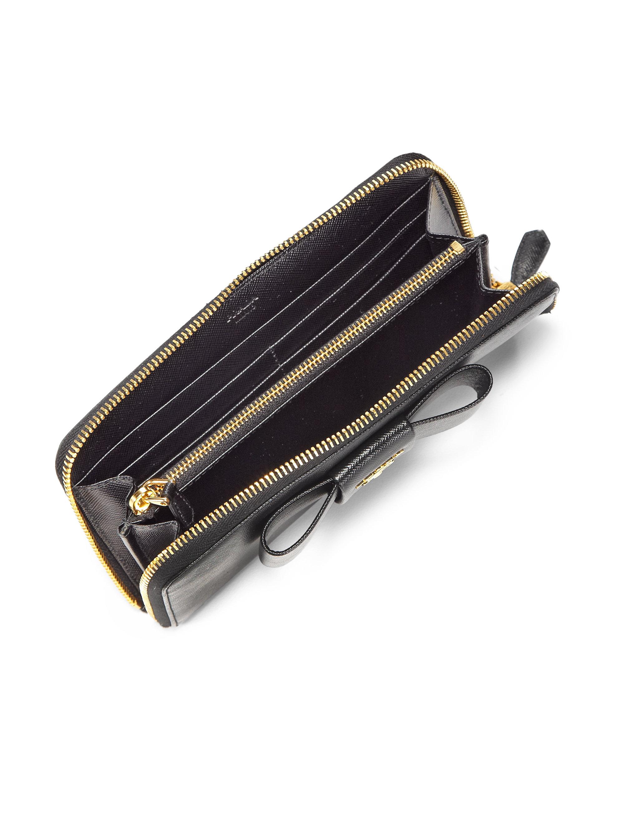Prada Saffiano Bow Zip-around Wallet in Black (nero-black) | Lyst