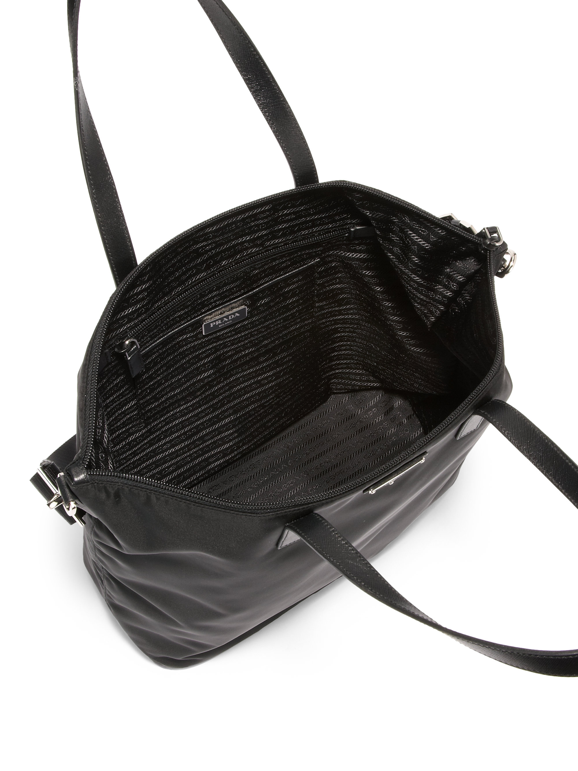prada nylon large zip-top shoulder tote bag