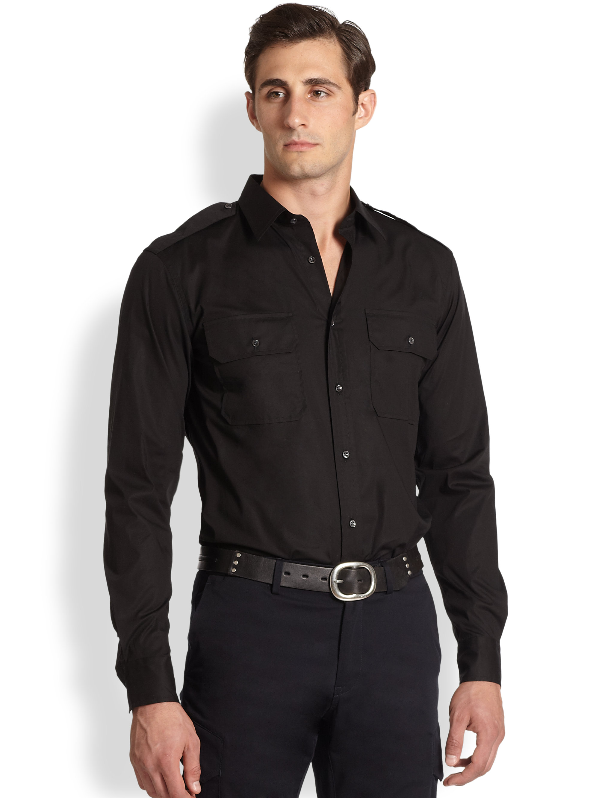 Ralph lauren Rover Stretch Cotton Military Shirt in Black for Men ...