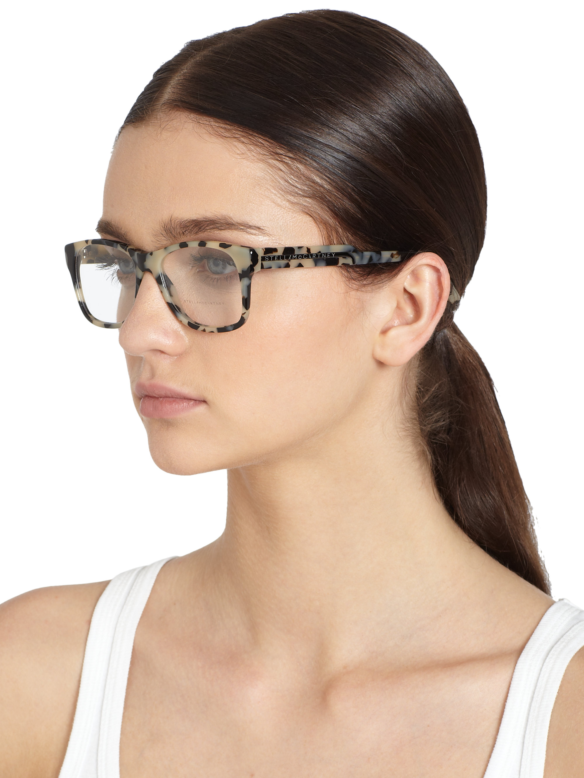 Maui Jim Warranty >> Stella McCartney Oversized Square Optical Glasses/grey Tortoise Print in Gray - Lyst
