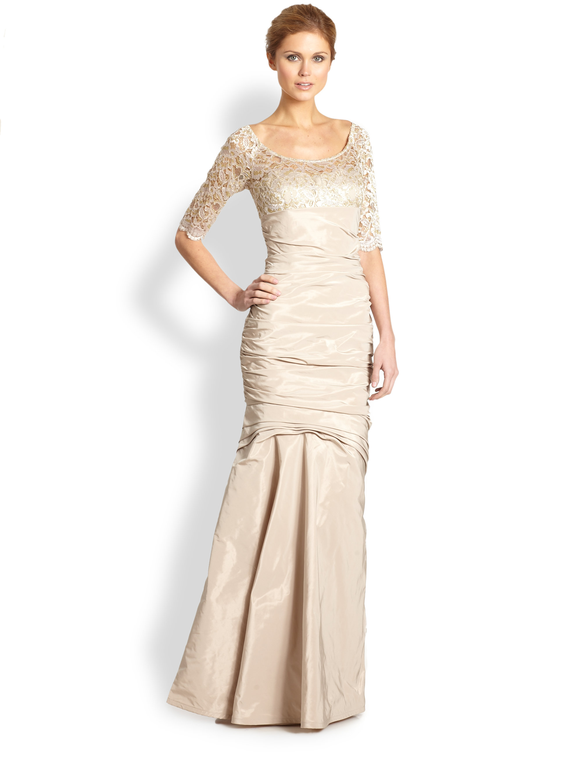 Lyst - Teri Jon Lacetrimmed Trumpet Gown in Natural