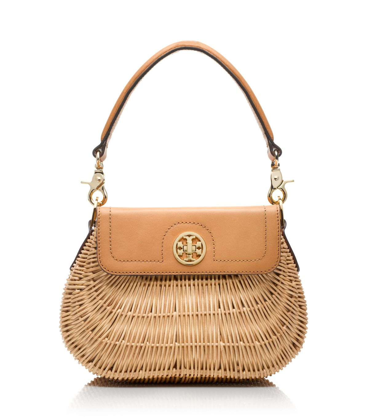 ffffd218e6a Tory Burch Lacquered Rattan Basket in Natural - Lyst