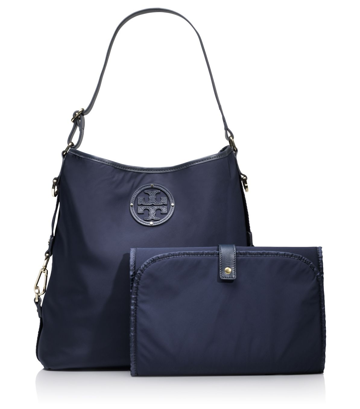 burch stacked logo baby bag in blue normandy blue