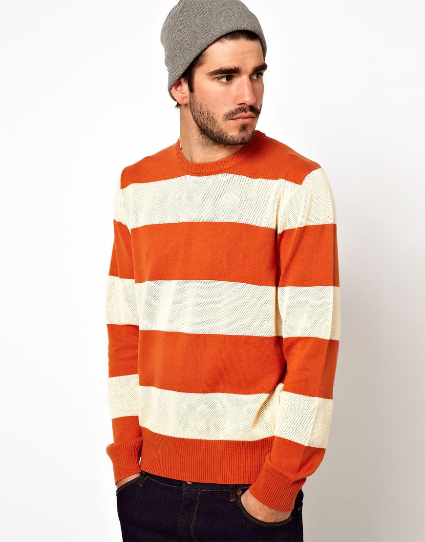 Ymc Striped Jumper in Orange for Men | Lyst
