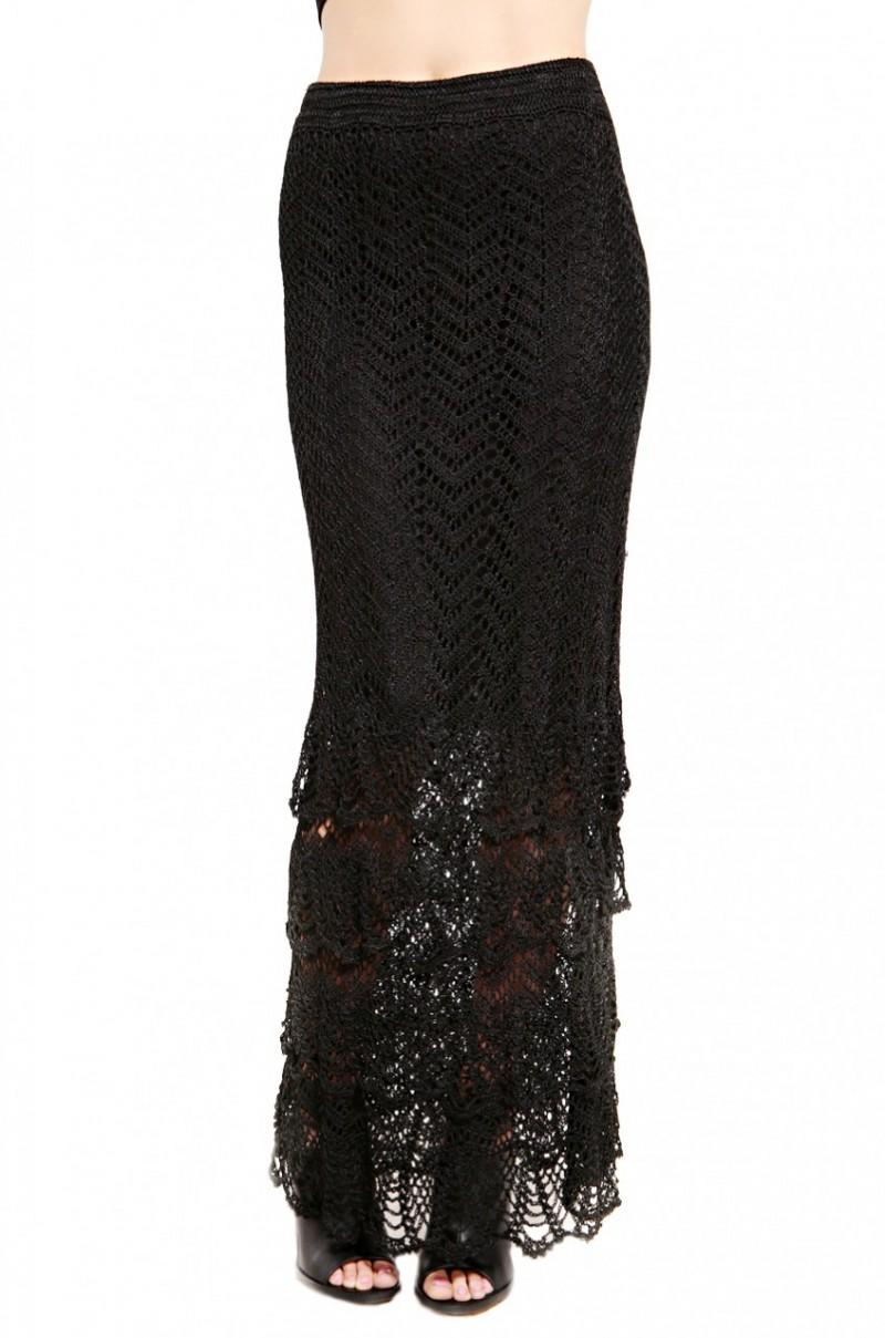 black label crochet tiered maxi skirt in black lyst